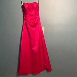 Alfred Angelo fuchsia strapless evening gown
